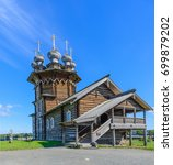 Small photo of The wooden orthodox Church of the Intercession of the Holy Virgin. Kizhi island, Onega lake, Karelia, Russia.