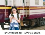 asian female traveler ... | Shutterstock . vector #699881506