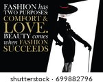 fashion quote with woman in... | Shutterstock .eps vector #699882796