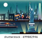 statue of liberty and landmarks ...   Shutterstock .eps vector #699882946
