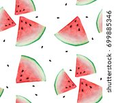 watermelon sliced seamless... | Shutterstock . vector #699885346