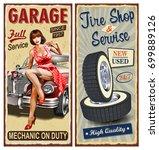 Set Of Vintage Car  Metal Sign...
