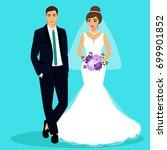 bride and groom. couple.... | Shutterstock .eps vector #699901852