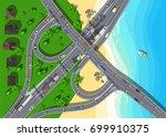 top view highway with bridge... | Shutterstock .eps vector #699910375