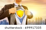 businessman in superhero... | Shutterstock . vector #699917335
