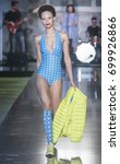 Small photo of BARCELONA - JUNE 29: a model walks on the BCN Brand catwalk during the 080 Barcelona Fashion runway Spring/Summer 2018 on June 29, 2017 in Barcelona, Spain.