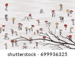 tiny grey people with colorful... | Shutterstock .eps vector #699936325