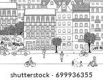 people walking through berlin ... | Shutterstock .eps vector #699936355