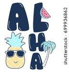 aloha slogan and badges vector. | Shutterstock .eps vector #699936862
