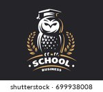Stock vector owl education logo vector illustration emblem design on black background 699938008