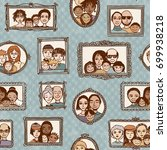 seamless pattern of cute family ... | Shutterstock .eps vector #699938218