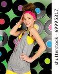 cheerful  teenage girl over... | Shutterstock . vector #69995317