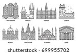 european monuments and... | Shutterstock .eps vector #699955702