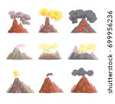 volcano eruption set  volcanic... | Shutterstock .eps vector #699956236