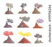 volcano eruption set  volcanic... | Shutterstock .eps vector #699956266