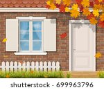 the brick house facade with... | Shutterstock .eps vector #699963796