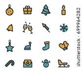 vector flat christmas icons set ... | Shutterstock .eps vector #699964282