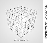 cube 3d mesh wireframe. web and ... | Shutterstock .eps vector #699964732