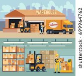 warehouse storage and shipping... | Shutterstock .eps vector #699964762
