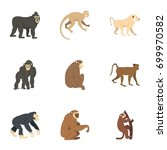 different monkey icon set. flat ... | Shutterstock .eps vector #699970582