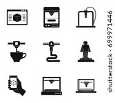 futuristic 3d printer icon set. ...