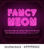 bright neon alphabet letters ... | Shutterstock .eps vector #699998362