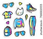 teen clothes 80's patches and...   Shutterstock .eps vector #700003555