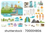 how hydroelectricity works. ... | Shutterstock .eps vector #700004806