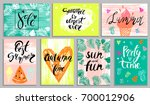 summer card  poster set with... | Shutterstock .eps vector #700012906