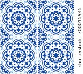 azulejos portuguese tile floor... | Shutterstock .eps vector #700015945