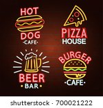 set of neon signs of beer bar ... | Shutterstock .eps vector #700021222