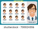 set of male facial emotions...   Shutterstock .eps vector #700024306
