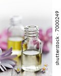 bottles of essential oil - stock photo
