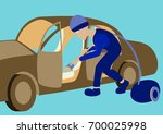 cleaning car interior vector... | Shutterstock .eps vector #700025998