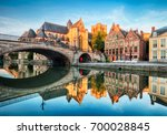 Medieval cathedral and bridge over a canal in Ghent - Gent, Belgium, Sint - Michielskerk