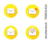 set mail icon open envelope new ... | Shutterstock .eps vector #700031422