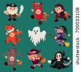 vintage halloween poster design ... | Shutterstock .eps vector #700033108
