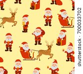 santa claus in different poses... | Shutterstock . vector #700033702