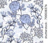 vector floral seamless pattern ... | Shutterstock .eps vector #700038376