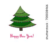 christmas tree sticker. happy... | Shutterstock .eps vector #700038466