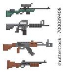 set of pixel firearm vector...   Shutterstock .eps vector #700039408