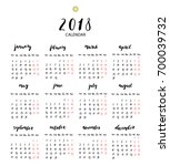 hand written ink calendar for... | Shutterstock .eps vector #700039732
