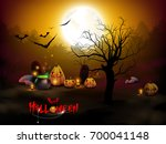 happy halloween message design. ... | Shutterstock .eps vector #700041148
