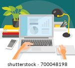illustration with desk and... | Shutterstock .eps vector #700048198