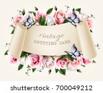 natural vintage greeting frame... | Shutterstock .eps vector #700049212