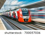 modern high speed train moves