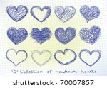 collection of hand drawn hearts ... | Shutterstock .eps vector #70007857