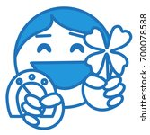 happy smiling emoticon holding...