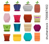 vector flowerpot and ethnic... | Shutterstock .eps vector #700087402