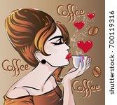 retro fashion woman profile... | Shutterstock .eps vector #700119316